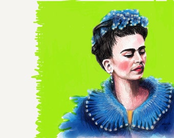 Frida Kahlo 8x10 art print in bright Green,                               Created on my Ipad with the app Paper53.