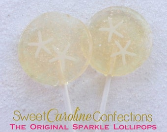 Beach Wedding Lollipops, Wedding Favor, Beach Wedding, Candy Lollipops, Sparkle Lollipops, Sweet Caroline Confections- Set of Six
