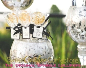 Featured on Hostess with The Mostess: Gold Wedding Favors with Personalized Tags, Love is Sweet, Sweet Caroline Confections-Set of Six