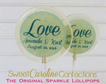 Wedding Lollipops, Love Favors, Sparkle Lollipops, Sweet Caroline Confections, Wedding Favors, Candy Lollipops, Personalized Lollipops