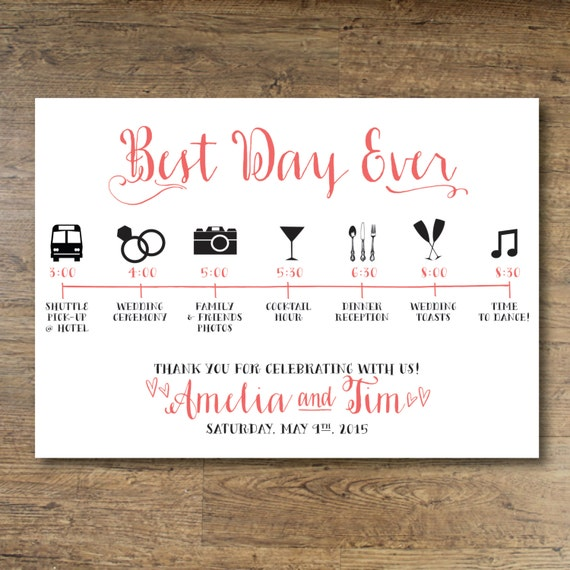 printable wedding day guest itinerary card by ohdarlingpaper. Black Bedroom Furniture Sets. Home Design Ideas