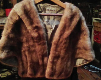 Vintage Fur Cape 1950's Sold As Is