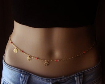 Gold plated Belly Chain ,Body jewelry, Waist Chain, Gold Plated Body Jewelry, Beach Jewelry, Hippie, Gypsy, Bohemian Accessory.