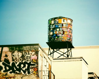 Dumbo New York Water Tower and Graffiti  - Plexiglass Multi-Colored Water Tower -  NYC Street Art - New York Cityscape Photograph