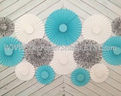 Robin's Egg  Blue and Damask Set of 14  (Fourteen)  paper rosettes/fans for Party Decor, Back drop or Nursery decor.