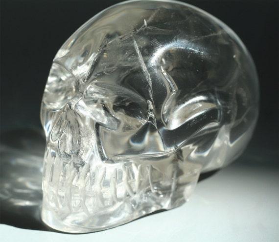 Clear quartz crystal skull hand carved brazil