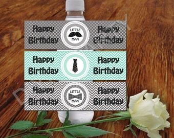 Little man Water Bottle Label DIY PRINTABLE Birthday Party decor Little man Party decor printable labels digital labels birthday decor 496ZZ