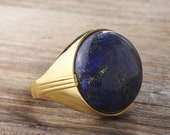 Mens Gold Ring 10k Gold Ring Gemstone Handmade Vintage Ottoman Style Yellow Gold Ring Lapis : FREE Shipping via FedEx in 3 days 59282