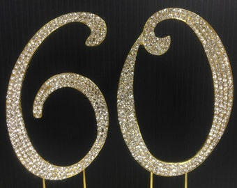 Gold  Rhinestone NUMBER (60) Cake Topper 60th  Birthday Parties FREE SHIPPING