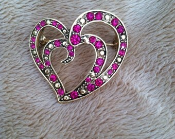 Valentine heart shaped brooch