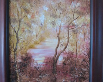 """Modern Painting - """"Pink marsh"""" in Oil/abstract art/wall art/canvas/"""