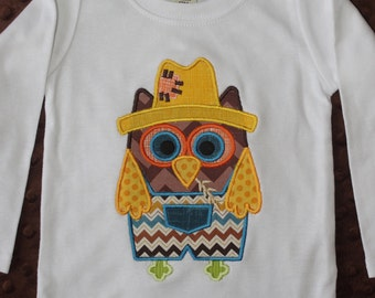 Fall Owl Appliqued Shirt or Onesie