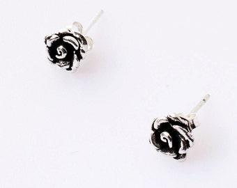 SALE 50% Rose Earrings, Rose Posts, Simple Rose Studs, Rose Filigree Flatbacks, Mini Rose Studs, Rose jewelry, Sterling Silver Roses