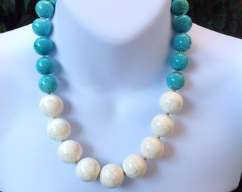 White and blue turquoise necklace. Chunky Turquoise necklace. White turquoise necklace. Large turquoise necklace.