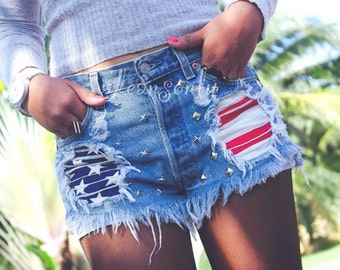 High waisted shorts Levis American flag studded denim shorts by Jeansonly