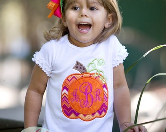 Custom Boutique Fall Girls Monogram Pumpkin T-Shirt - Personalized - Toddler and Youth - Girls Top