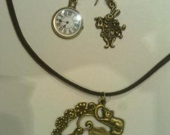 alice in wonderland necklace and earrings rabbit