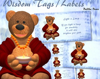 "Buddha Bears ""Light a Lamp"" Wisdom Tags / Labels - Digital Download"