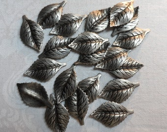 """Vintage silver plate brass etched & dapped leaves,3/4""""x3/8th"""",20pcs-KC161"""