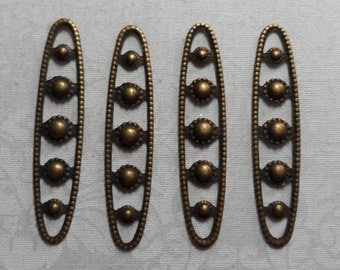 """Vintage gold or silver plate brass stamped open design bars,1&7/8th""""x3/8th"""",4pcs-KC52"""