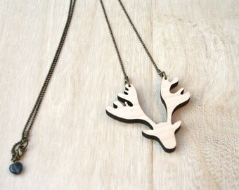 Moose necklace wood or acrylic.  The great moose and its antlers