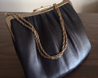 Vintage Leather Purse with Chain