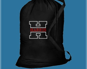 Monogrammed Graduation Gift, Personalized Embroidered Laundry Bag with Carrying Strap - Boy Laundry Bag - Laundry Bag - College Laundry Bag