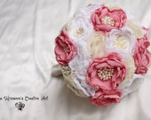 Custom Brooch Bouquet, Pearl Jeweled Bouquet, Fabric flower bouquet, Fabric Bridal Bouquet chiffon