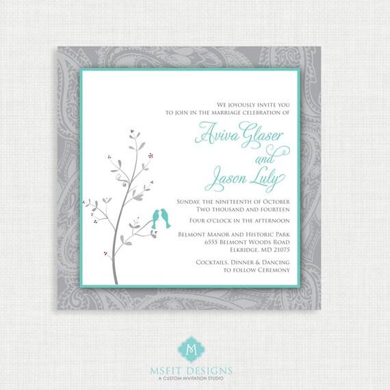 Printable Wedding Invitation - Lovebird Wedding invitation with RSVP card - Wedding Invitations- Printable Invitation