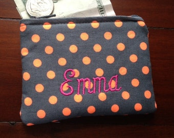 Personalized Coin Purse or Card Case in Neon Orange Polka Dot