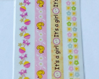 New for Scrapbooking Embellishment Rub-On Transfers Baby Girl Borders