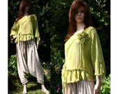 Bohemian Cropped Hand Dyed Linen Gauze Blouse with Frills Pintuckes and Removable Rose Romantic Lagenlook Plus Size Blouse