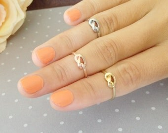 Gold / Rose Gold / Silver Tiny Knot Knuckle Midi Ring