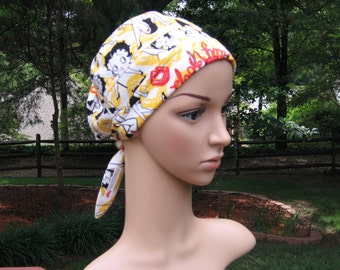 Scrub caps custom made in Betty Boop fabric for ladies or gents!