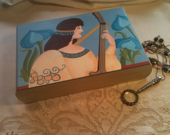 Lady with a Lute Treasure Box, Hand-Painted Art Nouveau Egyptian Jewelry Box or Trinket Box