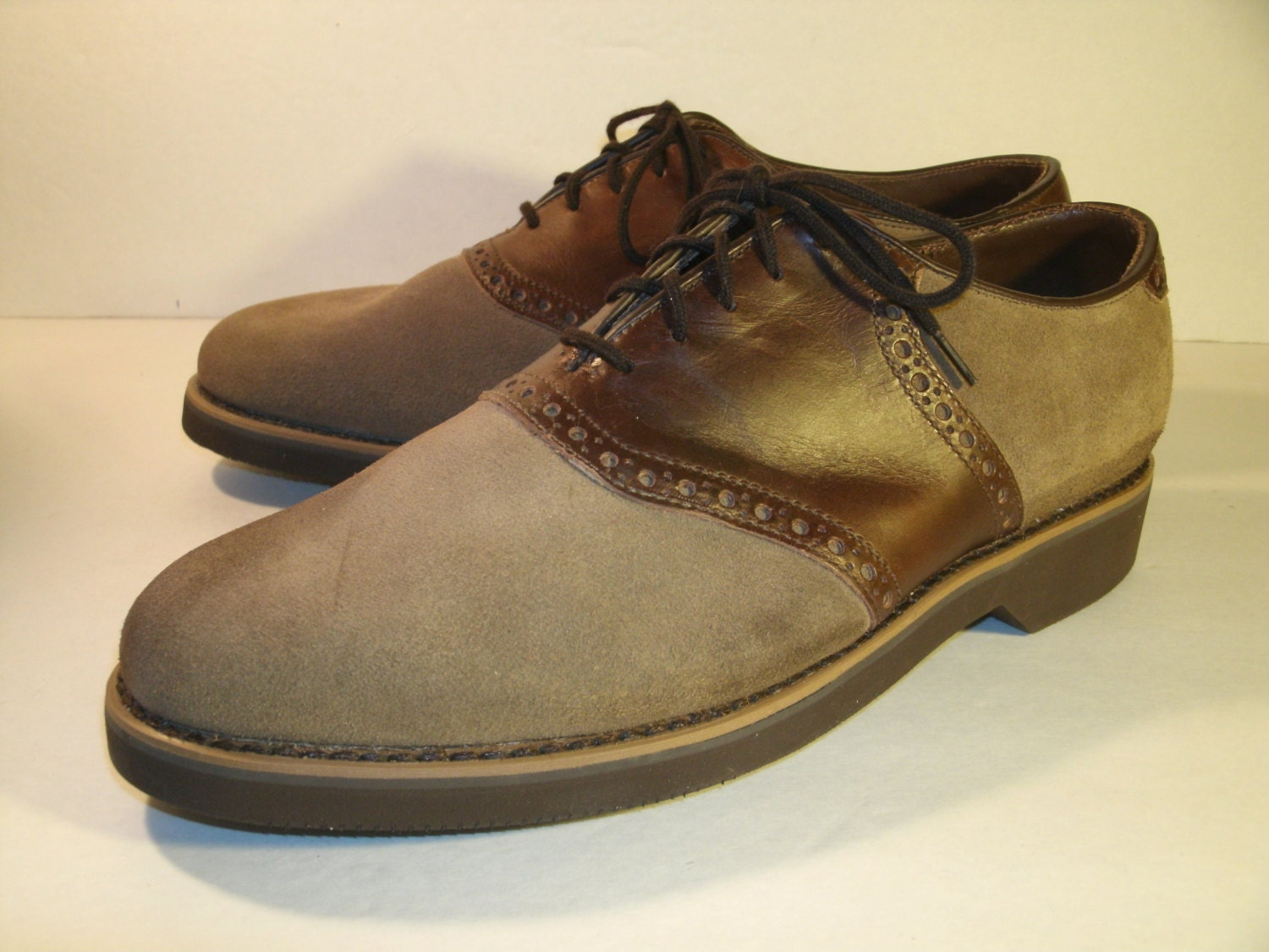 Dexter Suede Oxfords Tan Brown Leather Saddle Shoes Lined