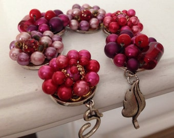 Original unique vintage earring bracelet, upcycled recycled repurposed jewelry, dark pink, beaded cluster, antique silver