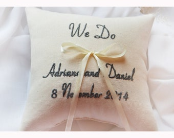 WE DO Ring bearer pillow , wedding pillow , wedding ring pillow, Personalized Custom embroidered ring bearer pillow (R75)