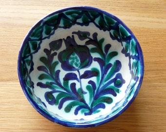 Fajalauza Ceramics, Granada, Vintage: Bowl with flowers blue and green
