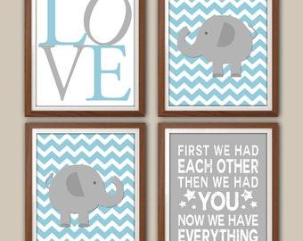 Baby Boy Nursery Art - Chevron - Elephant Nursery - Kids Wall Art - Baby Boys Room - Baby Nursery Decor - Playroom Art - Set Of Four