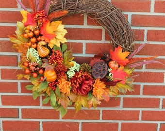 Fall Wreath, Autumn Wreath, GrapevineWreath, Fall, Wreath