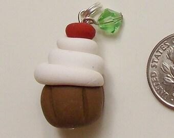 cupcake Bead charm with swarovski crystals