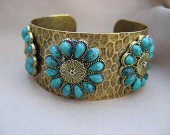 Turquoise Blue Hammered Brass Cuff,  Cuff  Bracelet with Floral Accent - Metal Cuff Bracelet - Women's Bracelet - Cuff