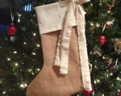 ON SALE! Burlap & Muslin Shabby Chic Christmas Stocking With Cute Wine Cork Detail