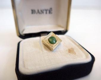 Dante Jade or Jade-like Gold Tone Tie Tack in Original Box 1960s - Vintage Men's Tie Tack w/Chain - Gold Tone Tie Tack with Tiger Eye Stone