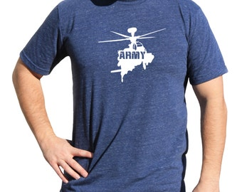 Army Tactical Triblend Soft Vinyl Tshirt   Shirt With Helo   MILITARY HELICOPTER TSHIRT   Helicopter Military Shirt   Air Force Military m06