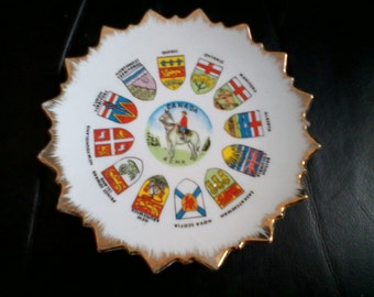 Vintage Souvenier Canada Plate RCMP in Center with Provinces and Territories Crests