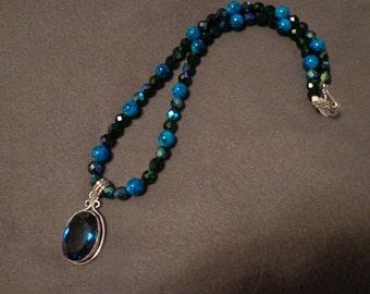 Dark blue quartz necklace