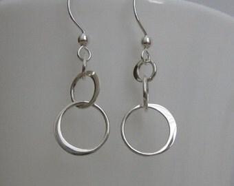 Eternity Earrings. Infinity Earrings. 3 Loop Earrings. LARGE or SMALL Loop Sterling Silver Earrings. Dainty Earrings. Bridesmaid Earrings