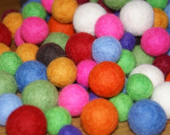 Felt Balls, Felt Beads, Pom Poms, Wool Beads , Color 12bright colors, Sizes 1.0 cm, 1.5 cm, 2.0 cm, 2.5 cm